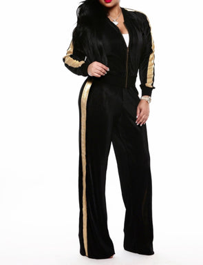 Long Sleeves Contrast Metalic Jacket and Wide Pants
