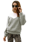 Short Plush Contrast Pullover Top