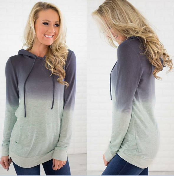 Gradient Hoody Top with Pocket