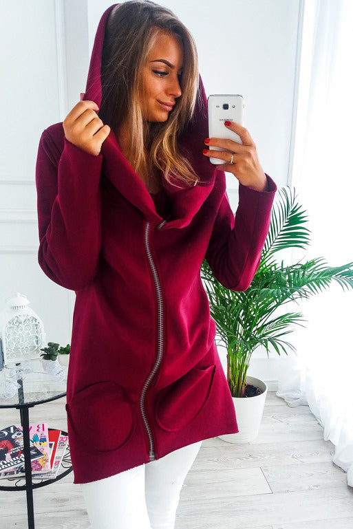 Zipped Up Long Sweat with Wide Collar