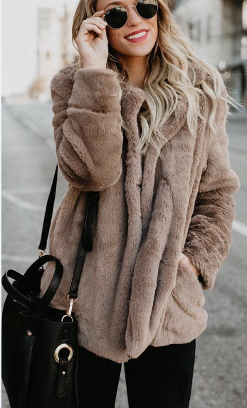 Short Plush Loose Coat with Collar