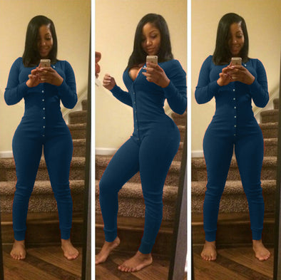 Pure Blue Sexy V Neck Long Woman Jumpsuit 19164-2