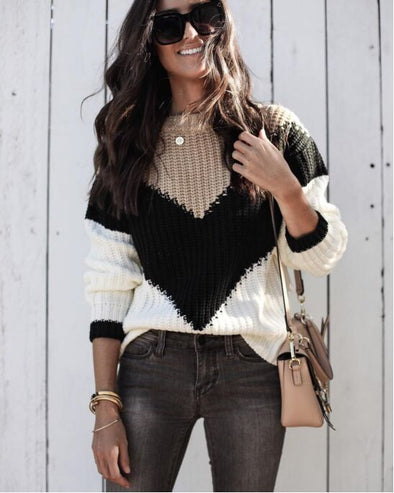 Block Color Sweater Top with Pop Sleeves