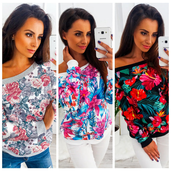 O-Neck Floral Shirt with Full Sleeves