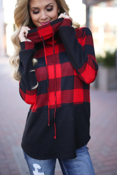 Block Color Plaid Hoody with Long Sleeves
