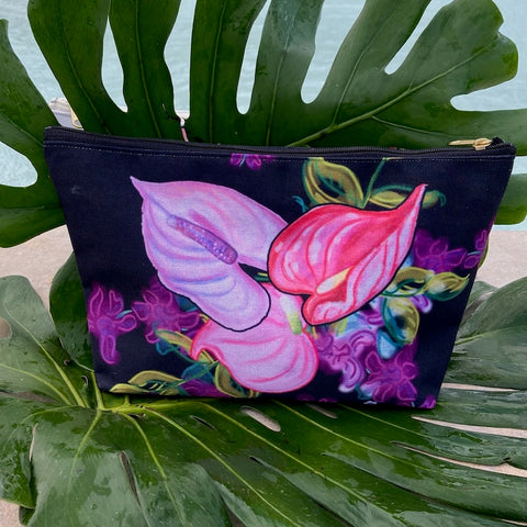 LIMITED EDITION T-Bottom Accessory Pouch Anthurium Orchid Splash
