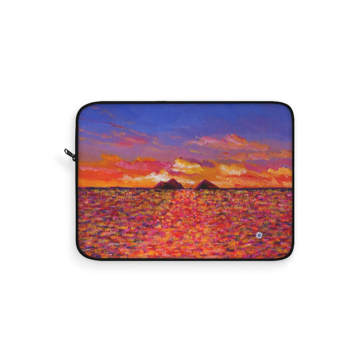 Laptop Sleeve: Tropical Hawaiian Islands, Lanikai - Tangerine Sunrise