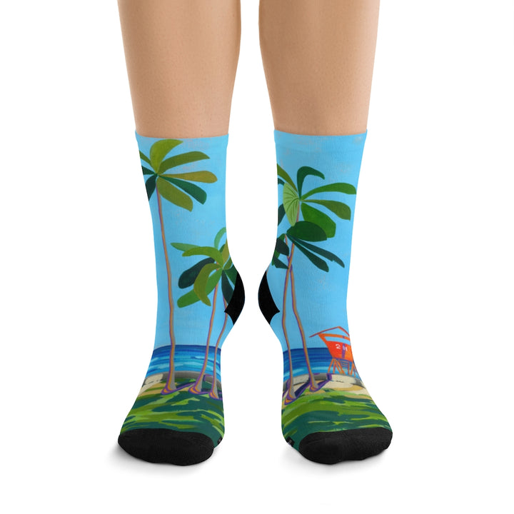 Women's Socks: Waikiki Beach Lifeguard Tower, Hawaii
