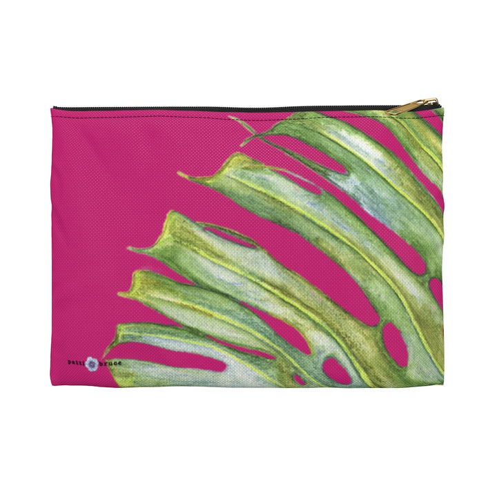 Accessory Bag: Monstera Leaf Tropical Pattern - Pink