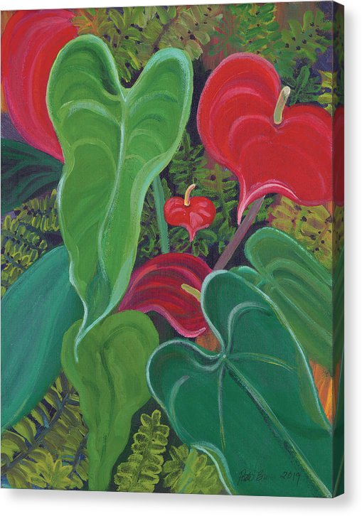 Anthurium Garden - Canvas Print