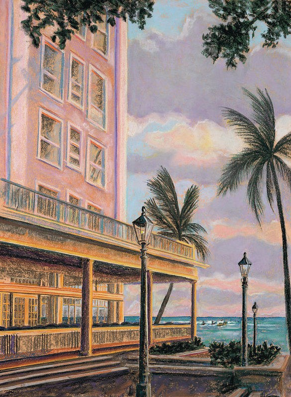 Waikiki Beach Hawaii hotel Moana at Sunset: Archival Print