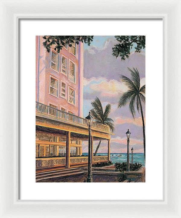 Waikiki Beach Moana at Sunset: Framed Print