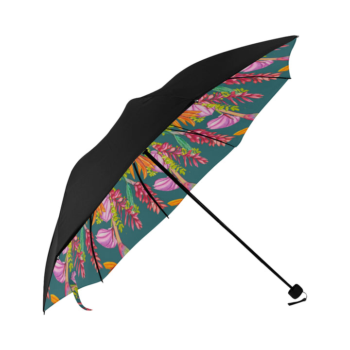 Underside Print Umbrella: Bird Party, Tropical Anthuriums, Ginger, Bird of Paradise - color/Surf
