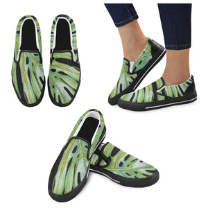 Women's Casual Slip-on Canvas Loafer Shoes: Monstera Edge