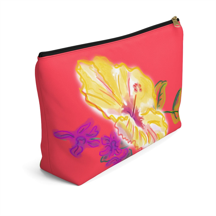 T-Bottom Accessory Pouch: Tropical Electric Yellow Hibiscus - Coral