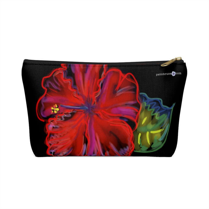 T-Bottom Accessory Pouch: Tropical Flower Hibiscus, Red