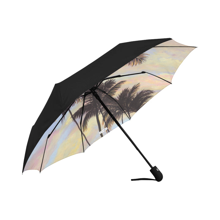 Underside Print Umbrella: Hawaiian Sunrise & Palms - Cotton Candy Clouds