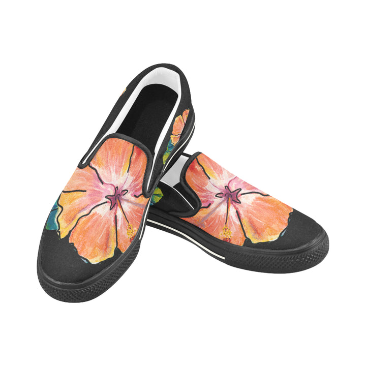 Kid's Slip-on Canvas Loafer Shoes: Luscious Hibiscus