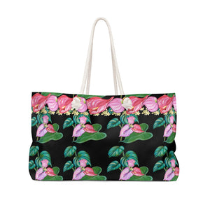 Canvas Tote Bag: Tropical Anthurium Flower in Black