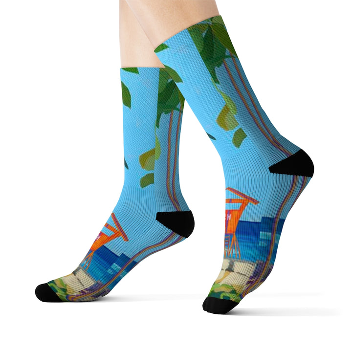 Men's Socks: Kaimana Beach, Palm Trees and Ocean