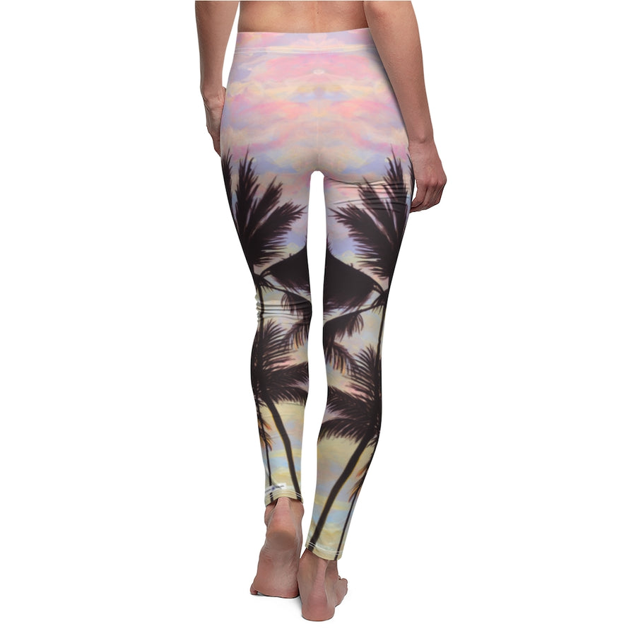 Women's Casual Leggings: Tropical Sunrise Sky, Cotton Candy Clouds