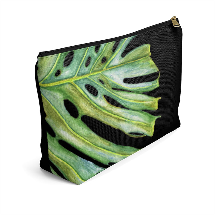 T-Bottom Accessory Bag: Tropical Monstera Leaf - Black
