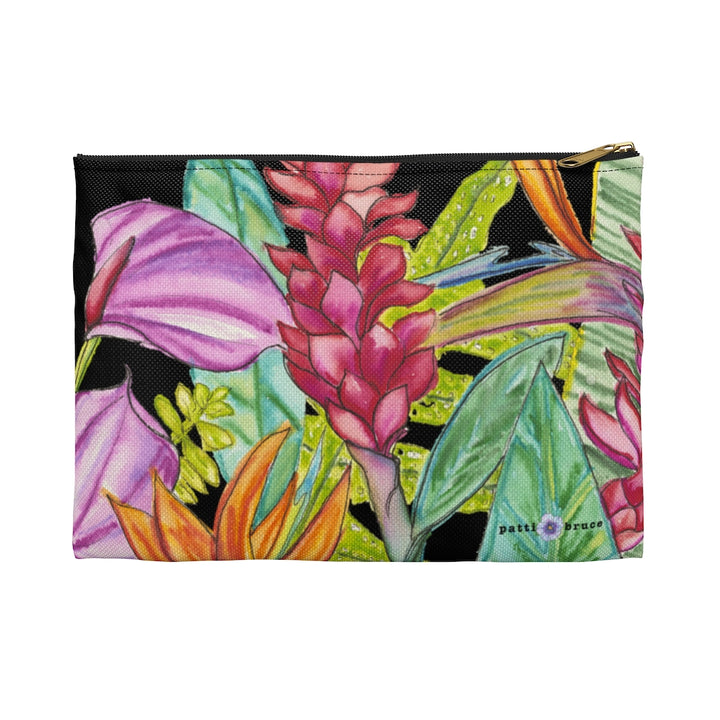 Accessory Pouch: Tropical Flower Garden - Bird of Paradise, Ginger, Anthurium - Bird Party