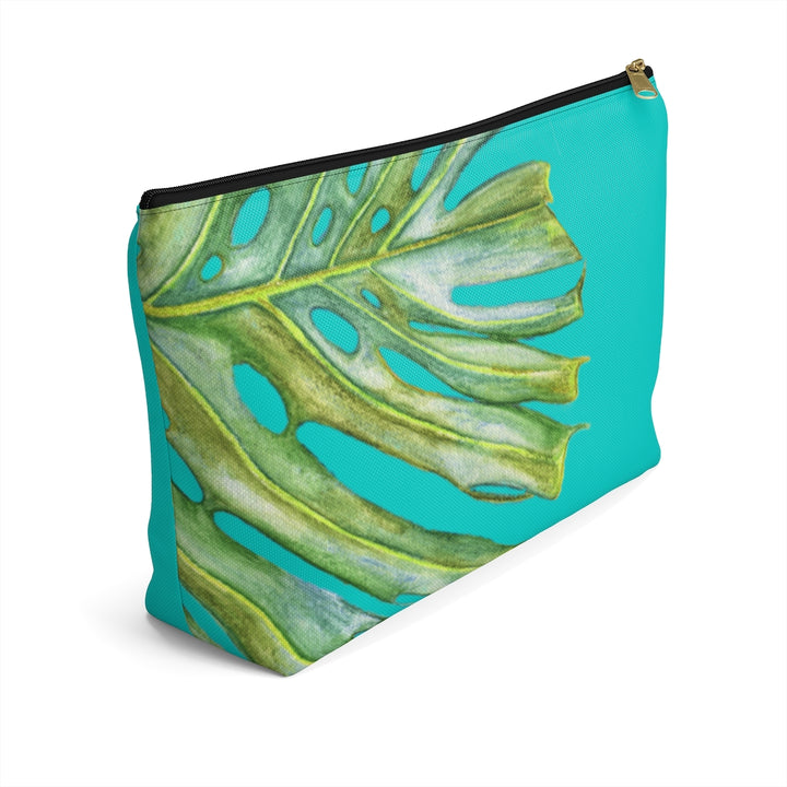 T-Bottom Accessory Pouch: Monstera Tropical Leaf - Turquoise
