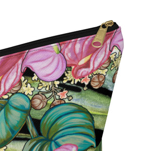 T-Bottom Accessory Pouch: Tropical Flowers, Anthurium and Hawaiian Healing Plants