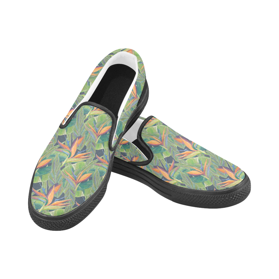 Women's Casual Slip-on Canvas Loafer Shoes: Dancing Birds