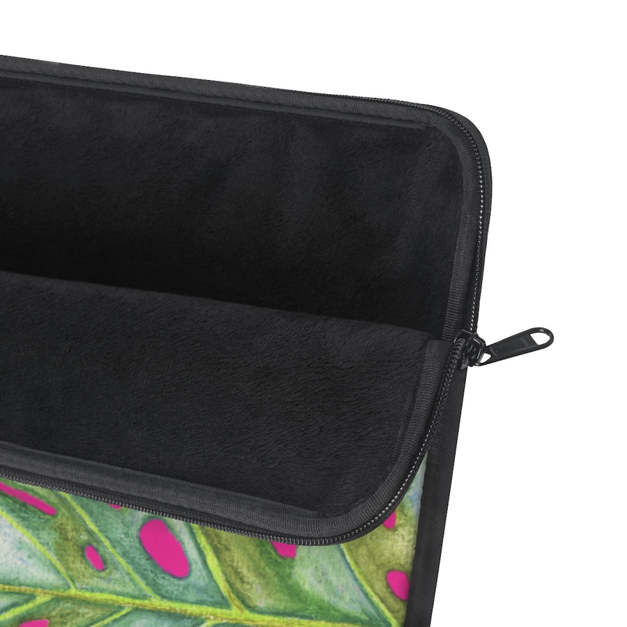 Laptop Sleeve: Tropical Monstera Leaf with Pink Background