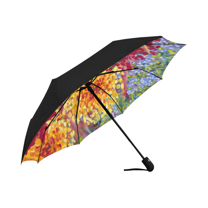 Underside Print Umbrella: Tropical Hawaiian Flower Garden, Red Flower - Ginger Boom!