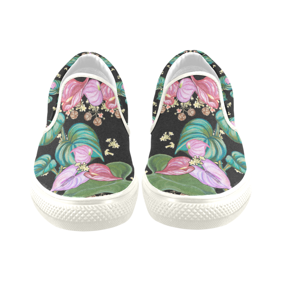 Women's Casual Slip-on Canvas Loafer Shoes: Tropical Camouflage