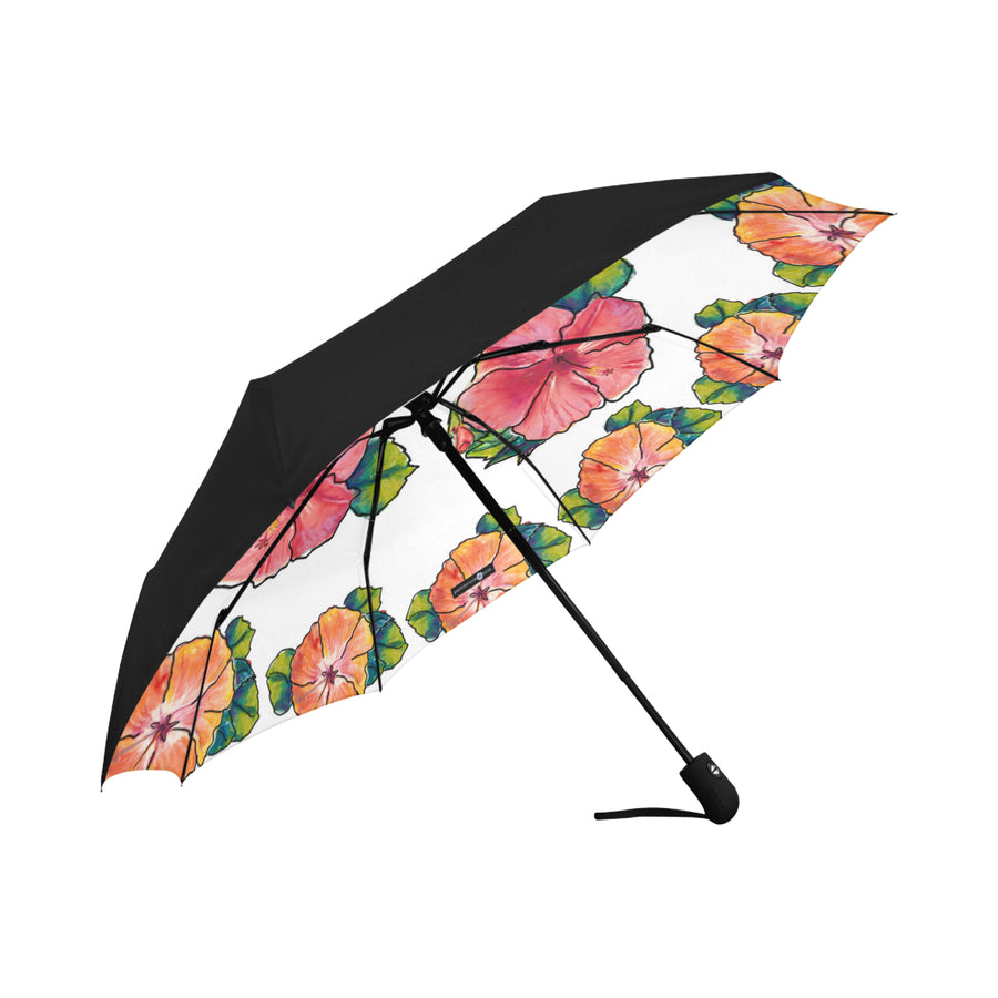 Underside Print Umbrella: Circle of Aloha in White