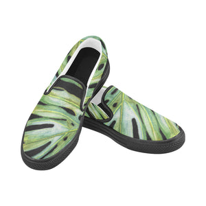 Men's Casual Slip-on Canvas Loafer Shoes: Monstera Edge