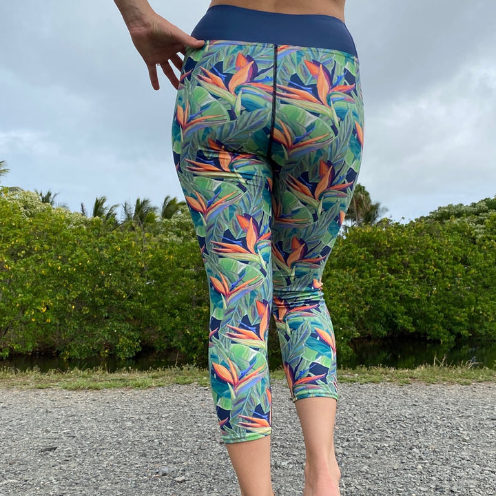 Yoga Capri Pants: Tropical Birds of Paradise