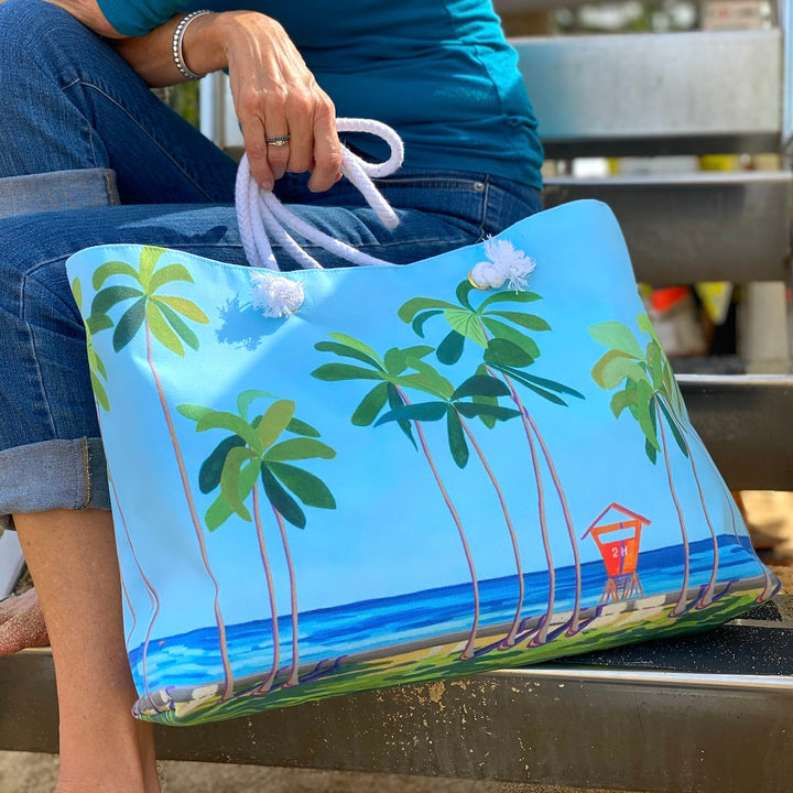 Canvas Tote Bag: Kaimana Beach Tower