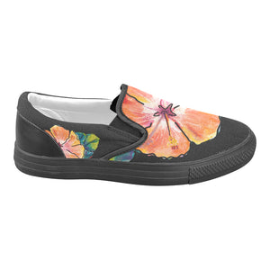 Women's Casual Slip-on Canvas Loafer Shoes: Luscious Hibiscus