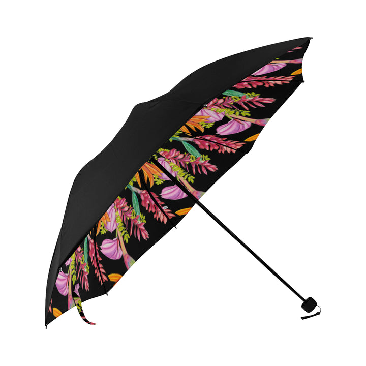 Underside Print Umbrella: Bird Party, Tropical Anthuriums, Ginger, Bird of Paradise - color/Lava