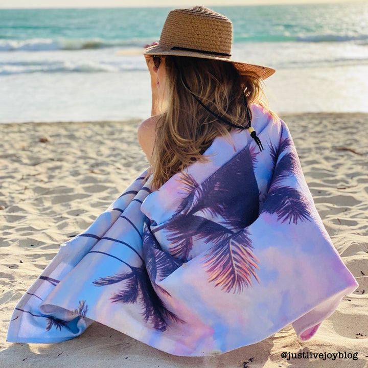 Beach Towel: Tropical Sunrise Sky - Cotton Candy Clouds