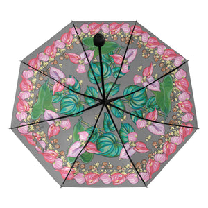 Underside Print Umbrella: Hawaiian Healing Leaves, Anthurium - Grey
