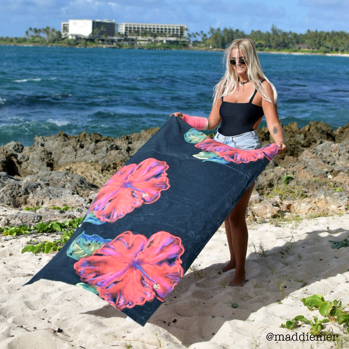 Beach Towel: Tropical Hibiscus Flower - Electric Baby
