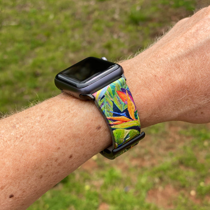 Smart Watch Band: Tropical Bird of Paradise - Dancing Birds Pattern