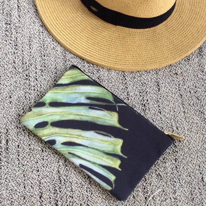 Accessory Pouch: Tropical Monstera Leaf - Black
