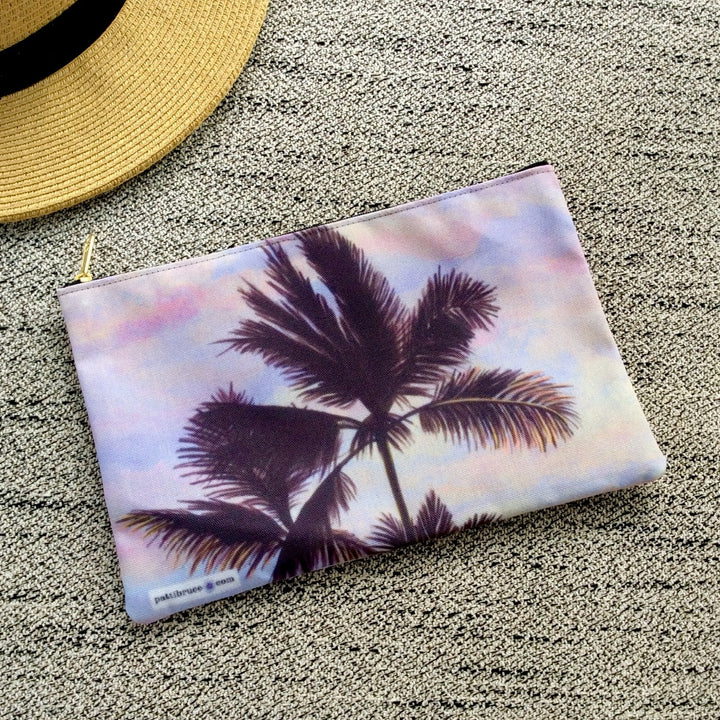 Accessory Pouch: Tropical Sunrise & Palms - Cotton Candy Clouds