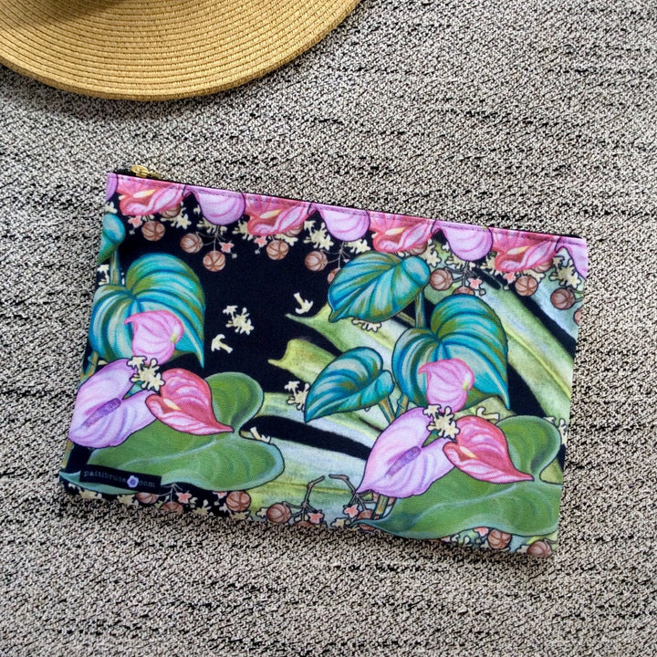 Accessory Pouch: Hawaii Tropical Flowers, Anthuriums, Monstera Leaves