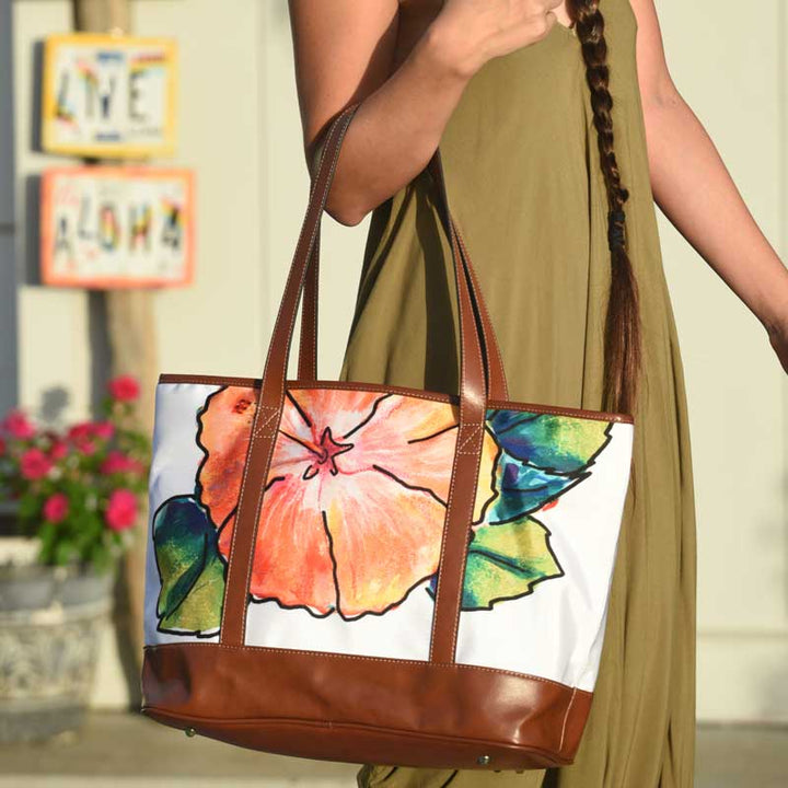 Weekender Tote Bag: Hawaiian Tropical Flower Hibiscus