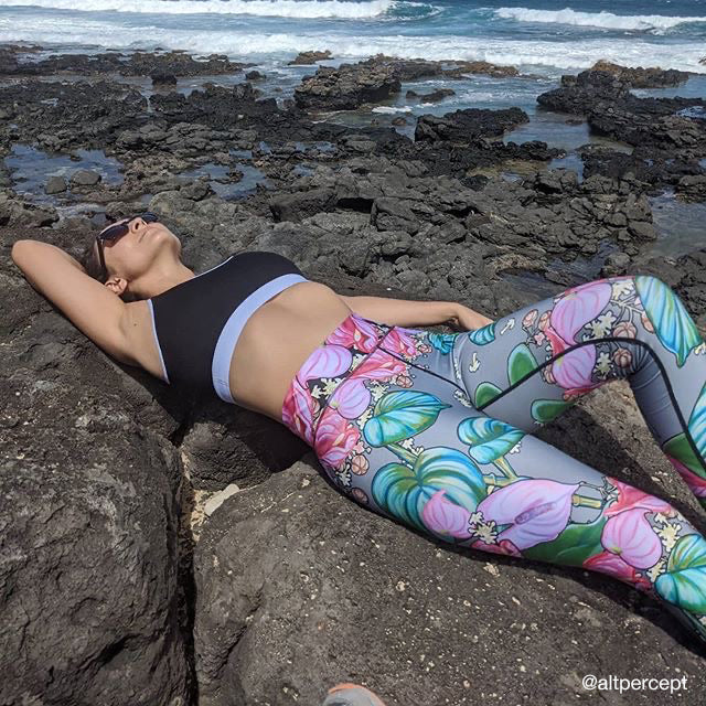 Yoga Pants: Tropical Camouflage Grey