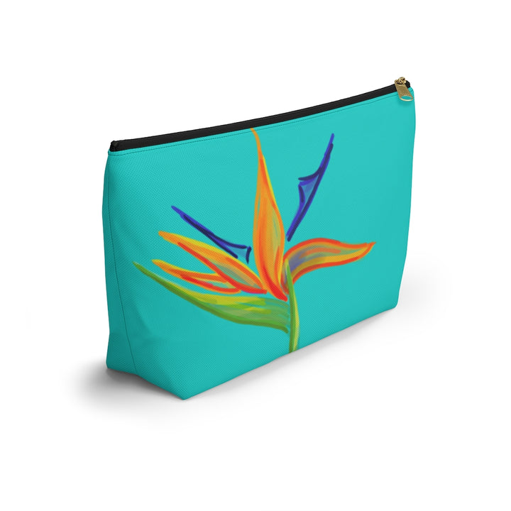 T-Bottom Accessory Bag: Tropical Bird of Paradise in Surf