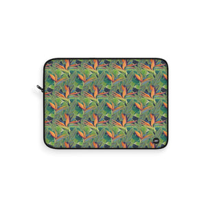 Laptop Sleeve: Tropical Bird of Paradise - Dancing Birds Pattern